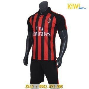 Áo bóng đá CLB AC Milan đen sọc đỏ mùa 2018 - 2019