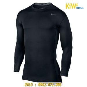 Áo Lót Body Dài Tay Nike Màu Đen Chơi Bóng Đá Thể Thao