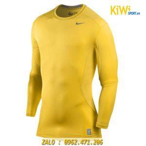 Áo Lót Body Dài Tay Nike Màu Vàng Chơi Bóng Đá, Thể Thao