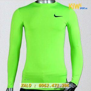 Áo lót body tay dài nike màu xanh dạ quang chơi bóng đá