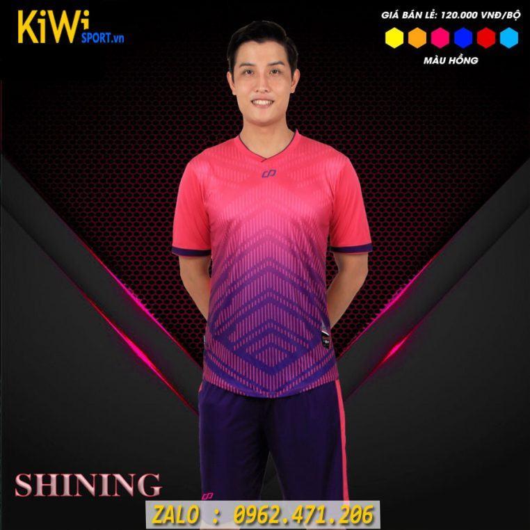 Áo Bóng Đá Không Logo Mẫu Shining Màu Hồng