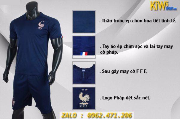 Áo Bóng Đá Tuyển Pháp 2019 - 2020 Màu Xanh Lam Hàng Cao Cấp