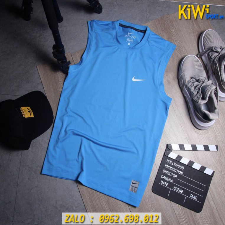 Buôn Sỉ Áo thể Thao Sát Nách Nike Pro Màu Xanh Biển Tuyệt Đẹp