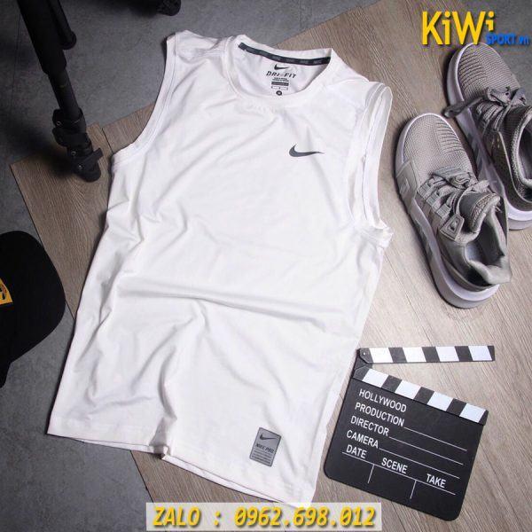 Chuyên Sỉ Áo Sát Nách Thể Thao Nike Pro Màu Trắng