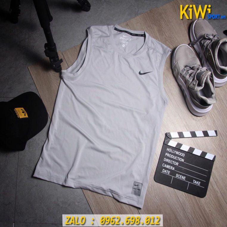 Chuyên Sỉ Áo Thể Thao Sát Nách Nike Pro Màu Xám