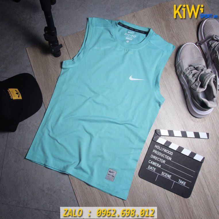 Chuyên Sỉ Áo Thể Thao Sát Nách Nike Pro Màu Xanh Ngọc Cực Chất