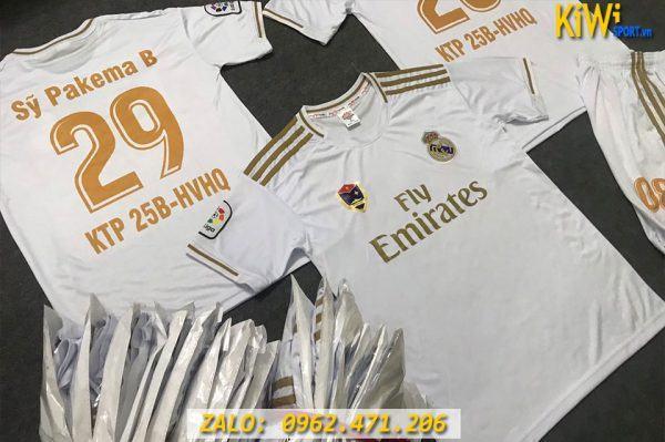 In Đồ Đá Banh CLB Real Madrid 2019 - 2020 Màu Trắng