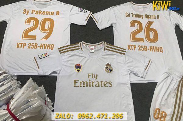 Mẫu In Áo Đá Banh CLB Real Madrid 2019 - 2020 Màu Trắng Rất Đẹp