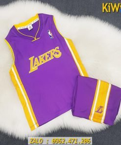 Mẫu Quần Áo Bóng Rổ Trẻ Em Lakers Màu Tím Dễ Thương