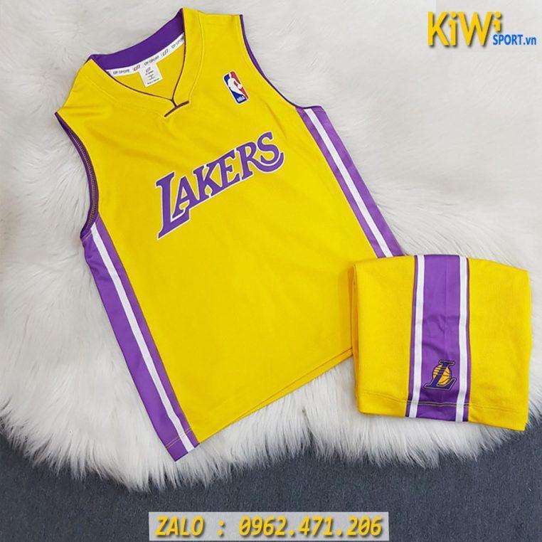 Quần Áo Bóng Rổ Trẻ Em Lakers Màu Vàng Phối Tím