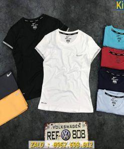 Áo Tập Gym Nữ Cổ Tròn Mẫu Nike Thun Co Giãn Rất Đã