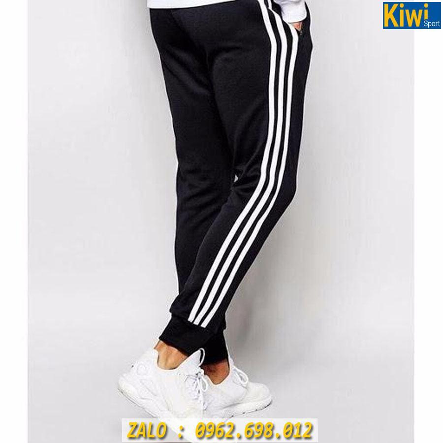 Quần Jogger Adidas 3 Sọc Ống Bó Màu Trắng