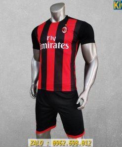 Áo Đá Banh AC Milan Sọc Đỏ Đen Mùa 2020 - 2021